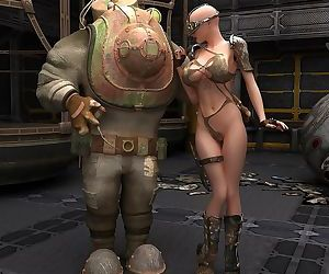 Dystopian babe naked with her robot sidekick - part 6