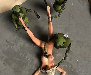 Three curious robots explore a naked blonde babe - part 13