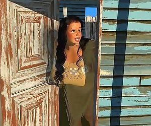 Big breasted 3d american indian babe posing outdoors -..