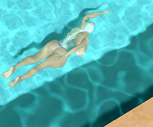Big breasted 3d blonde girl swimming topless in pool -..