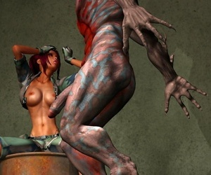 Comics Pretty army chick getting hard ripped.., monster , 3d  All
