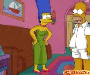 Comics The Simpsons- Lustful Homer and Marge, family , threesome  simpsons
