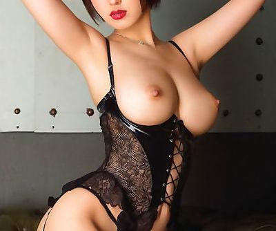 busty asian in black lingerie
