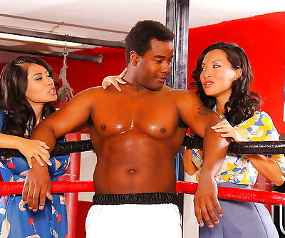 Hot interracial threesome with..