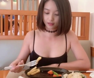Cute Asian Girl Flashing Butt Plug and Quick Pee at a Restaurant