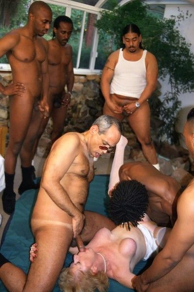 Old granny tart gangbanged by a dozen of monster black cocks