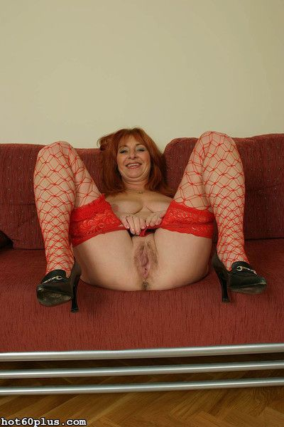Martina - mature slut in red fishnets