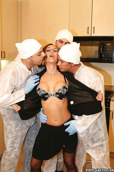 Mature slut with big tits Anita Lay enjoys gangbang in stockings