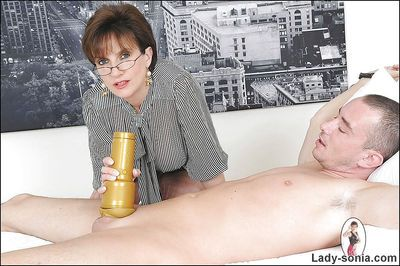 Hot femdom jerks her boyslaves cock and masturbates it with a fleshlight - part 2