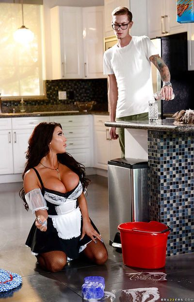 Latina maid August Taylor getting tit and butt fucked by man of the house