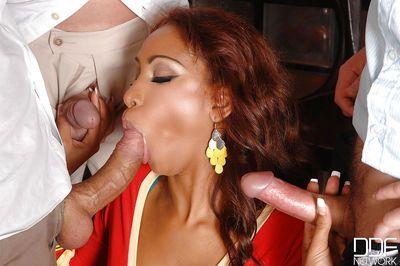 Redhead Latina MILF Katia Due Lys sucking off group of men at same time