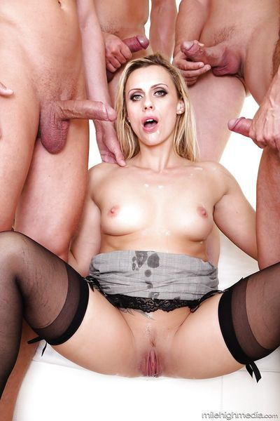 European MILF Brittany Bardot getting double penetrated in gangbang - part 2