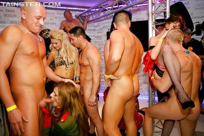 Sexy party chicks playing with their sex toys and hard male strippers cocks