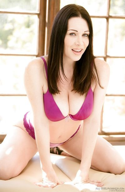 Ravishing brunette starlets Rayveness- Gracie and Abella strip down