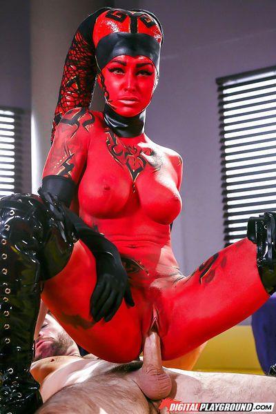 MILF pornstar Kleio Valentien taking cumshot on tongue after cosplay sex - part 2