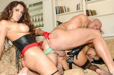 MILF pornstars Sandra Romain & Francesca Le as fuck man with strapon dicks - part 2