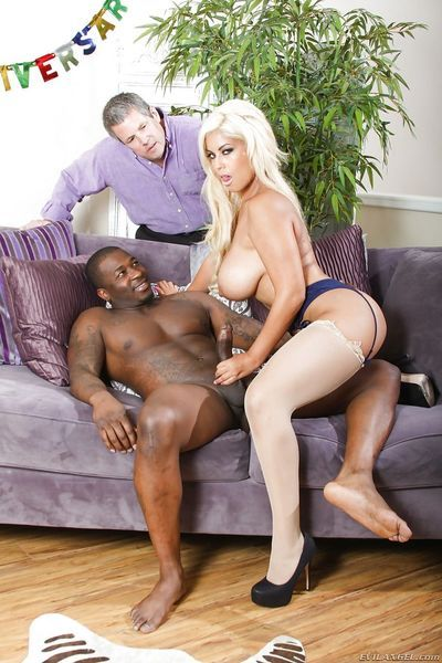 Blonde bombshell Bridgette B doing a black bull in front of cuckold