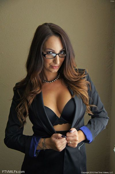 Sexy mature in glasses & tight skirt flashing big breasts & hot ass outside
