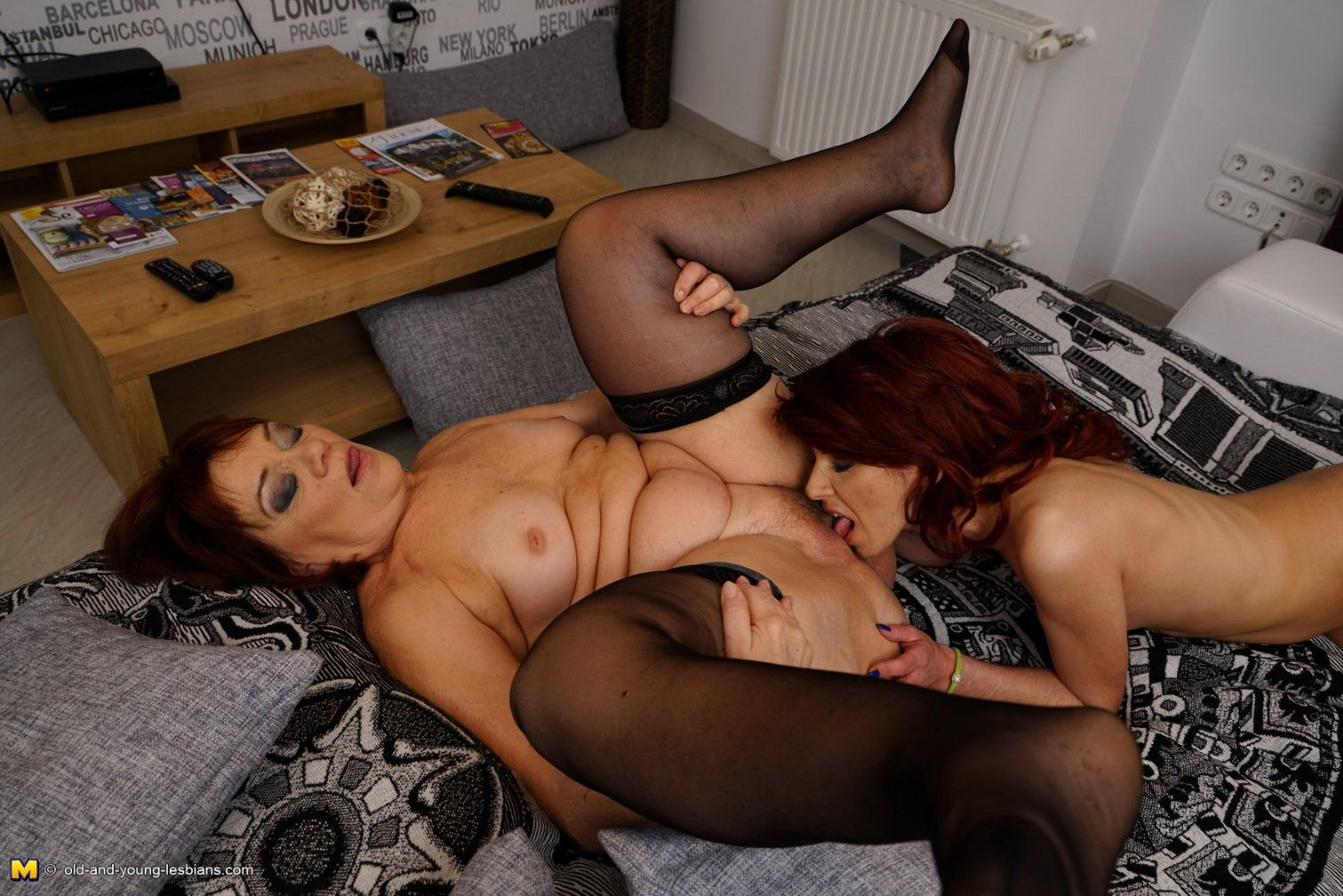 Horny old and young lesbians making out