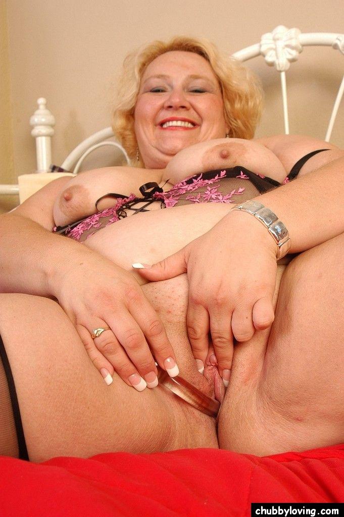Mature blonde fatty Britany loosing floppy boobs from bra in sheer panties