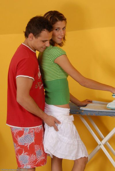 Thin amateur Amanda has her ironing interrupted by her guy wanting her bush