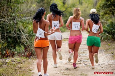 Female runners suck cock and eat pussy at various points during race on beach