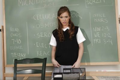 Sweet schoolgirl undressing and spreading her legs against the chalkboard