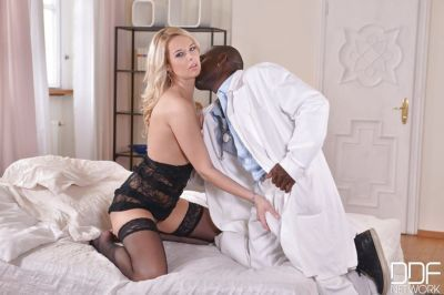 Euro blonde Nikky Dream giving massive black cock interracial blowjob
