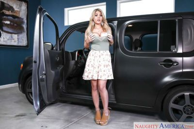 Clothed beauty Kayla Kayden slowly taking off her clothes on truck seat