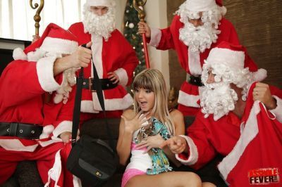 Teenage cutie Doris Ivy has a groupsex with two well-hung Santas