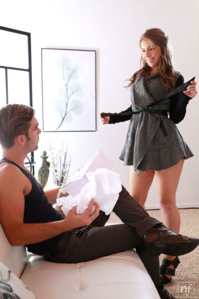 Hot Presley Hart models her sexy new short skirt before her guy fucks her hard