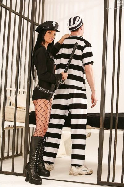 Pretty brunette policewoman Black Angelika using shaved cunt to ride cock