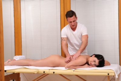 Rave haired female Lucy Li wants a massage but ends up fucking masseur instead