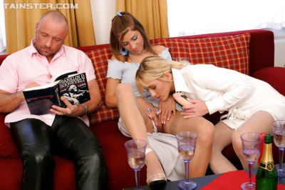 3some with stocking clad bi-sexual ladies Justine Ashley and Rachel Evans