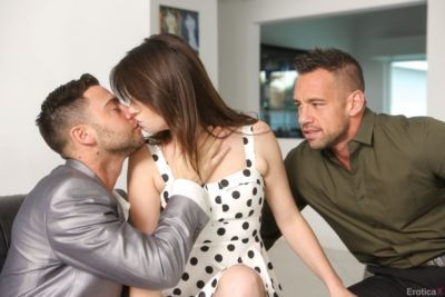 Latina porn model Maya Bijou get seduced and screwed by two dudes in threesome