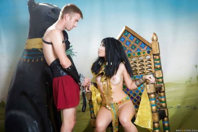 Asian brunette Rina Ellis fucking big dick in Cleopatra outfit