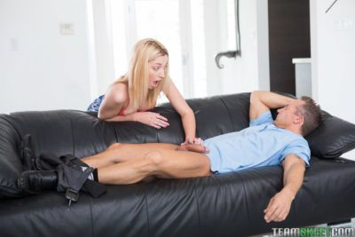 Young blonde girl Zoe Parker taking cumshot on tits after bald cunt banging