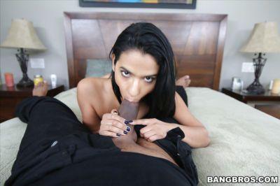 Latina slut Karmen Bella on knees to give massive black penis a blowjob