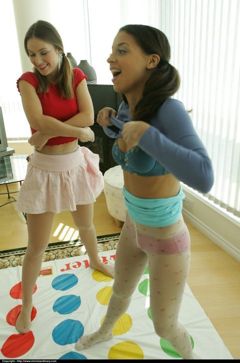 Loveable amateur babes in pantyhose having fun and stripping