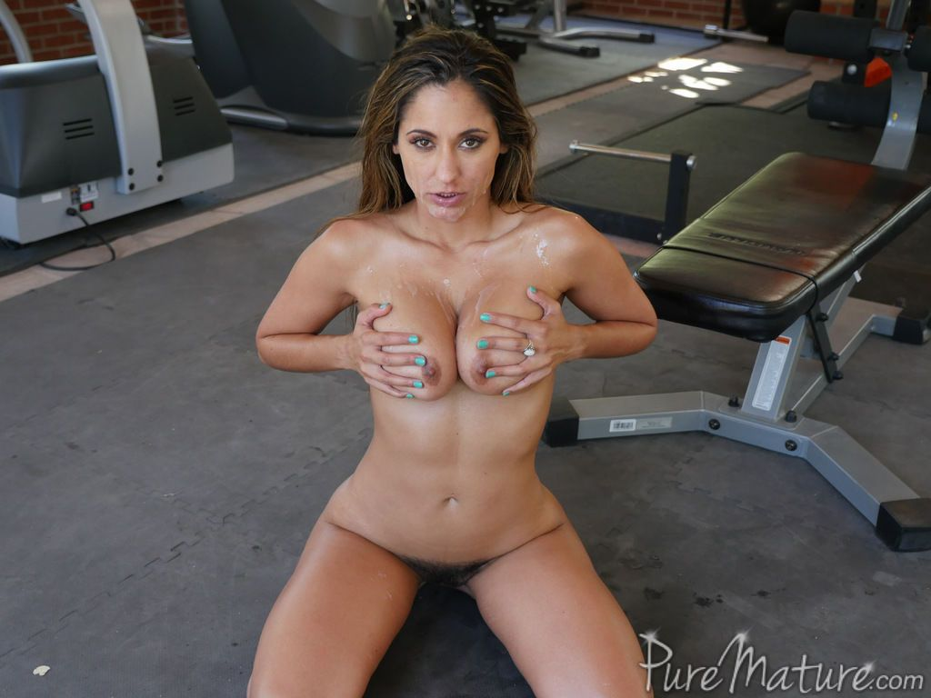 Fit and busty mom Reena Sky banging in gym with personal trainer