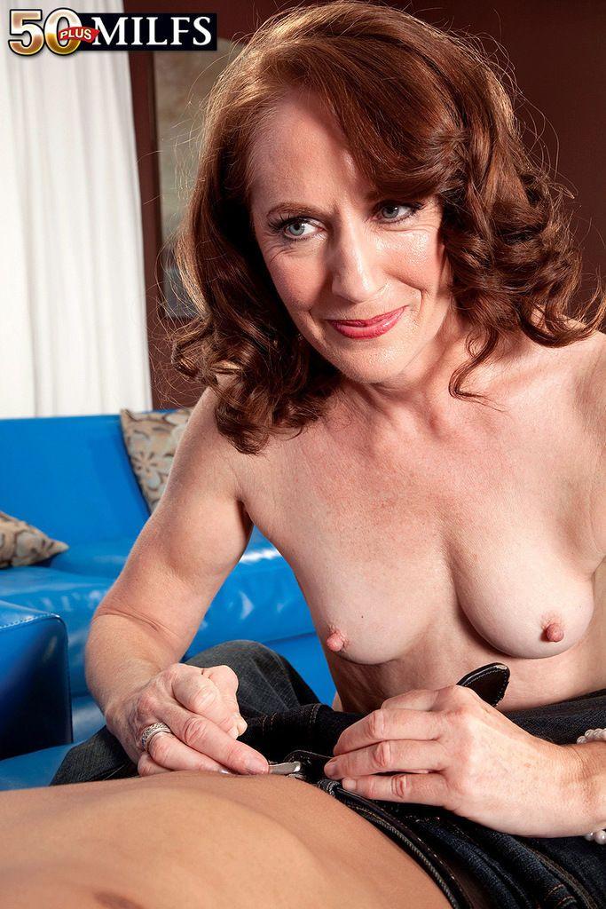 Naked older woman Carolyn Khols sucks a cock until point of ejaculation