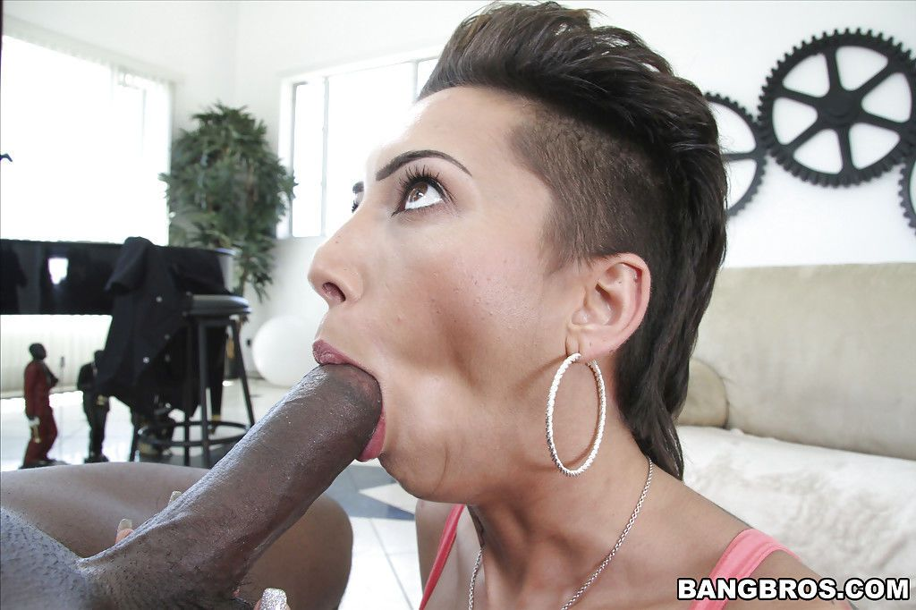 Punky Latina Bella Bellz takes huge black dick in mouth and filthy asshole