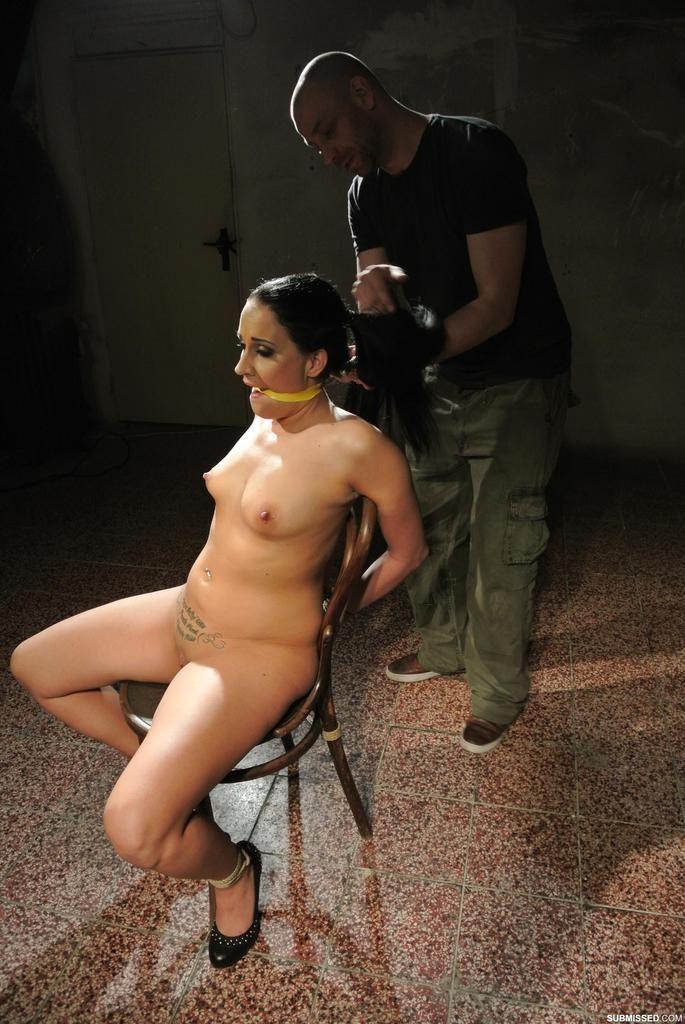 European teen Clair Brooks undergoes forced masturbation in BDSM games