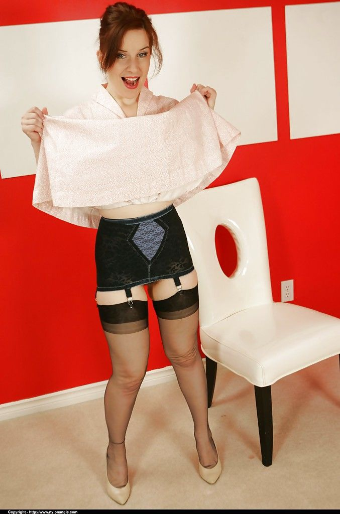 Kinky mature babe Nylon Angie does some upskirt and gets blindfolded