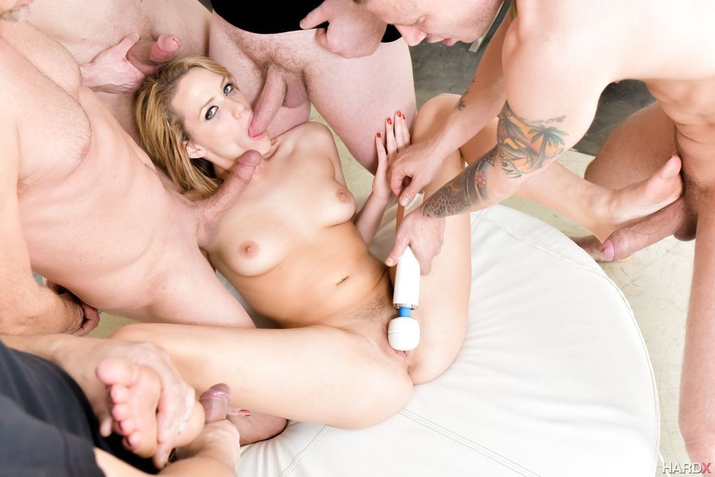 Hot chick Mia Malkova realizes her gangbang fantasies with four big cocks