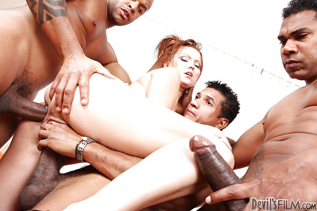 Interracial gangbang double penetration with hot Olga B giving head