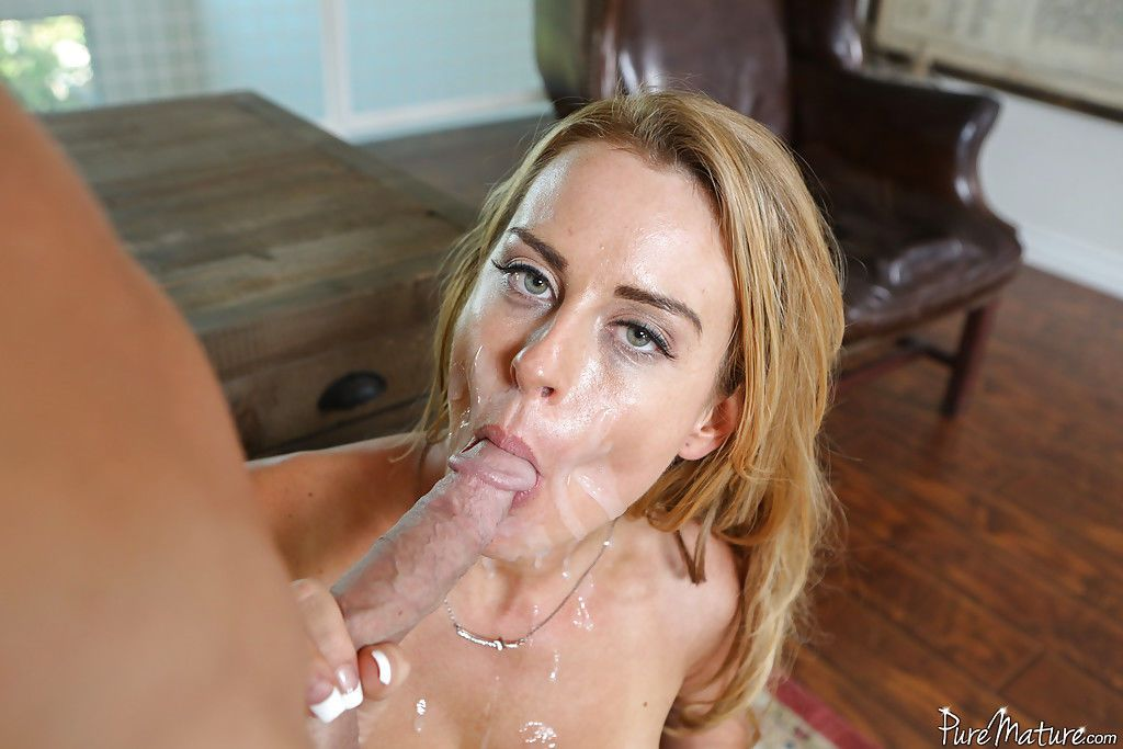 Blonde mom Corinna Blake takes rough deepthroat from a huge dick