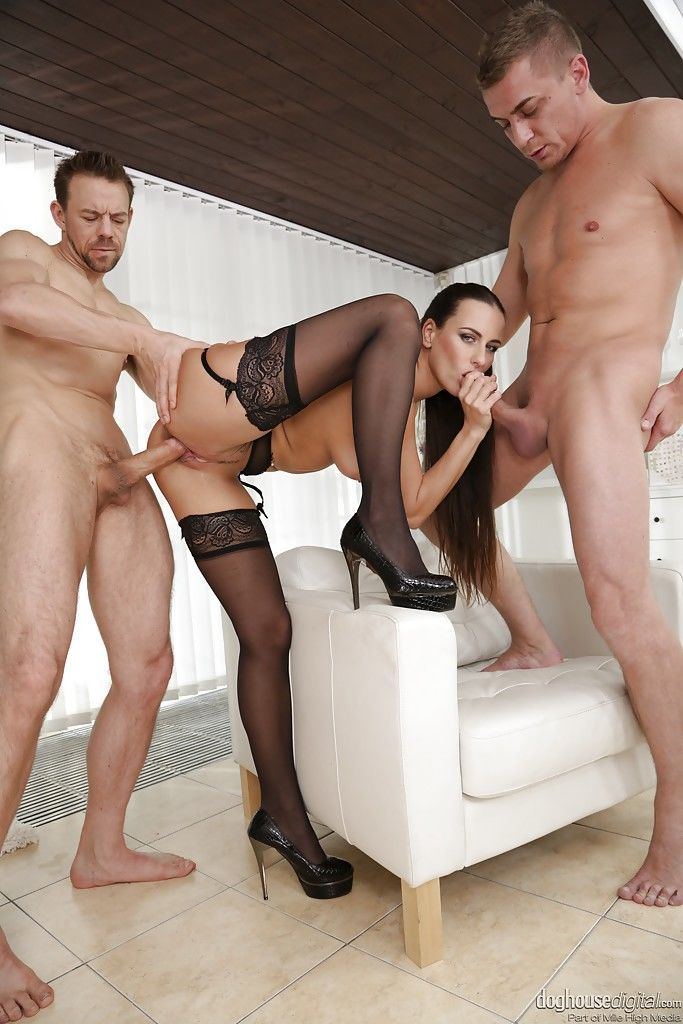 Stocking garbed Euro chick Mea Melone receiving DP in MMF threesome