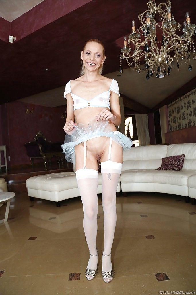 Blonde solo model Raisa Wetsx spreading pink vagina for close ups