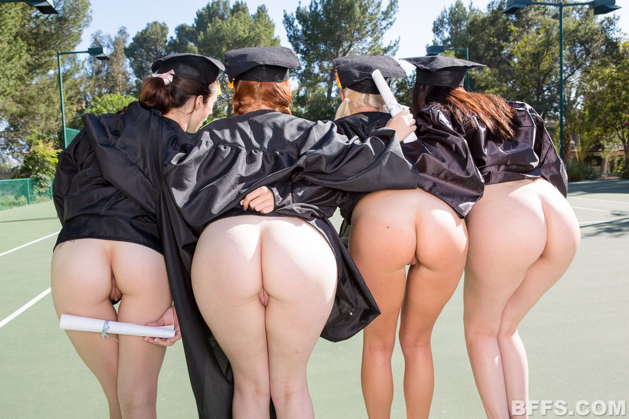 College girls celebrate graduation with an all girl threesome in dorm